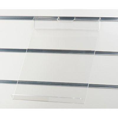Acrylhylde for stående A4 brochure med stopkant - klar akryl for rillepanelermål B23xD32 cm - A4 brochure