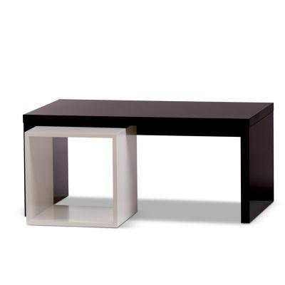 Butiksbord sort med hvid flytbar kube