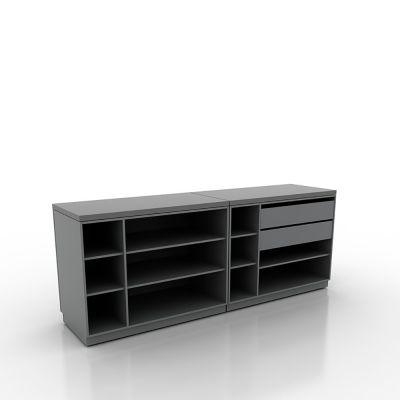 Butiksdisk med grå korpus - 2 diske længde 120 cm - 2 skuffer 90 cmmål samlet længde 240 cm - diskdybde 60 cm - højde 92,5 cm
