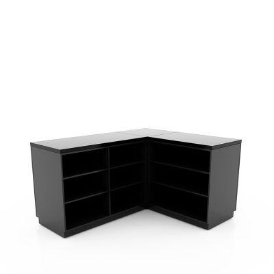Butiksdisk med grå korpus - vinkelformet - 1 hjørnesektion - 1 disk 90 cm - 1 disk 120 cmmål udvendig 180x150 cm - diskdybde 60 cm - højde 92,5 cm
