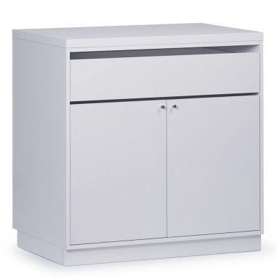 Butiksdisk i hvid inkl. topplade i hvid slidstærk laminat samt 1 skuffe og 2 lågermål længde 90 cm - diskdybde 60 cm - højde 92,5 cm