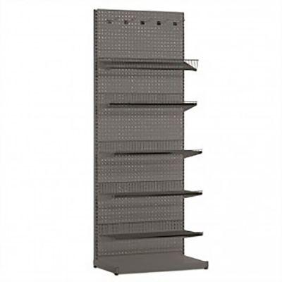 Butiksreol i værkstedsplade - grå lak3 stk 40 cm hylder og 2 stk 30 cm trådhyldermål på modul H202xB90 cm
