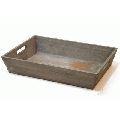 Træbakke gråmeleret | 43 x 30 xH-8