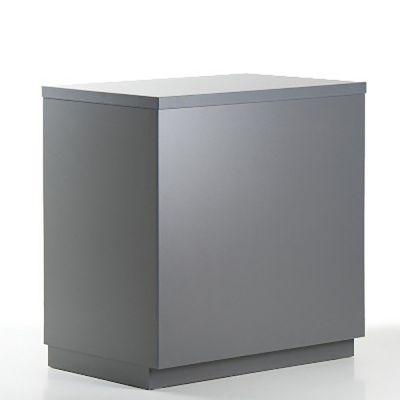 Butiksdisk i grå inkl. topplade i grå slidstærk laminat - inkl. 2 hyldermål L90xD60xH92,5 cm