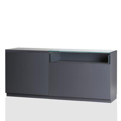 Butiksdisk i grå inkl. topplade i grå slidstærk laminat - 1 disk 90 cm - 1 disk 120 cm med glasmål L210xD60xH92,5 cm