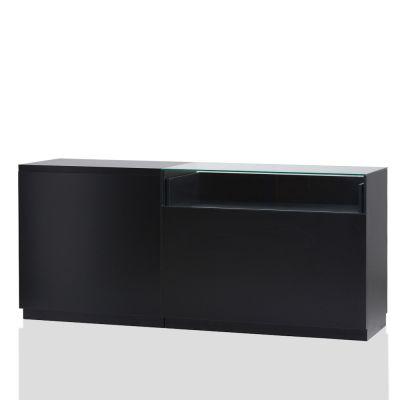 Butiksdisk i sort inkl. topplade i sort slidstærk laminat - 1 disk 90 cm - 1 disk 120 cm med glasmål L210xD60xH92,5 cm