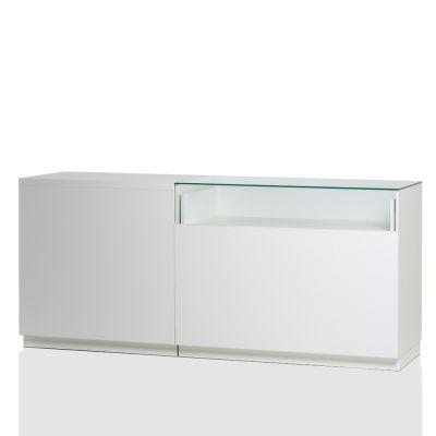 Butiksdisk i hvid inkl. hhv. 1 topplade i hvid laminat L90 cm og 1 glassplade L120 cmmål samlet L210xD60 cm