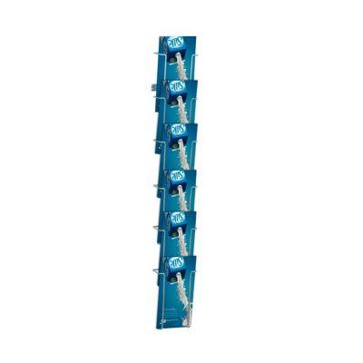 Brochureholder til væg i polyesterlakeret aluminiumsfarvet tråd - til 6 x M65