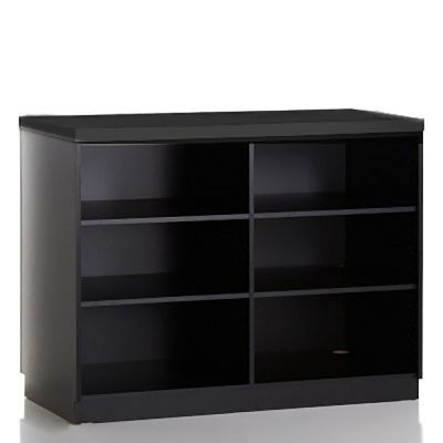 Butiksdisk i sort inkl. topplade i sort slidstærk laminat - inkl. 4 hyldermål L120xD60xH92,5 cm