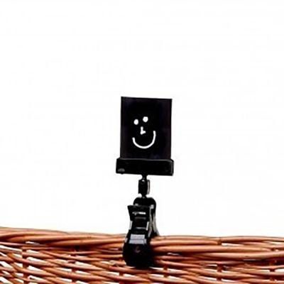 Etiketklemme til fletkurv i sort plast