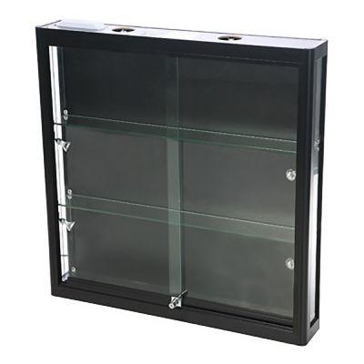 Vægmontre - vægvitrine - sort aluminium og hærdet glasinkl. 4 spot og lys i toppenmål H90xB90xD15 cm