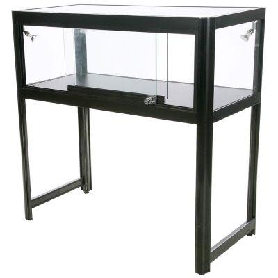 Glasmontre og vitrine disk i sort aluminium og hærdet glasinkl. 4 spot og glaslåger med låsmål H90xB90xD45 cm