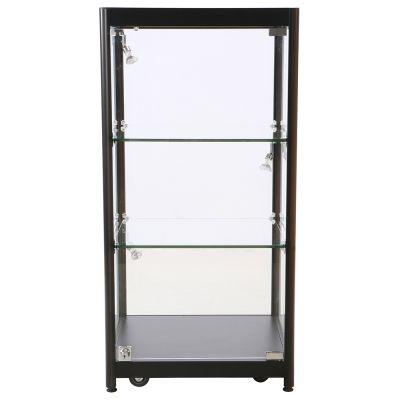 Bordmontre inkl. lys - sort aluminium og hærdet glasinkl. 4 hjul, 3 spot og 2 glashyldermål H90xB45 cm