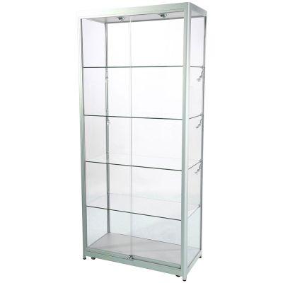 Glasmontre i elokseret aluminium og hærdet glas - inkl. 4 hjul, halogenspot i top og 6 spot i sidernemål H200xB90xD45 cm