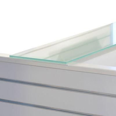 Top glasplade for 2 gulvfag - fremstillet i kraftig 'sandblæst' glas inkl. 5 anslagsdæmpere