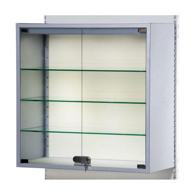 Vitrineskab for gondol - glasskabet er gråtmål H90xB90xD40 cm