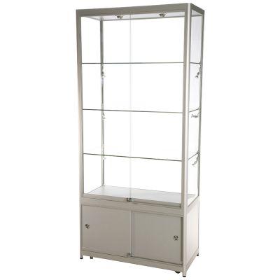 Glasmontre med skab i aluminium og hærdet glasinkl. 4 hjul, halogenspot i top og 6 spot i sidernemål H200xB90xD45 cm