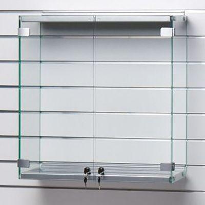 Vitrineskab for panel - Glasskabet er i metal og grå lakmål H62,5xB89,5xD27 cm