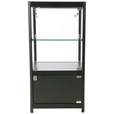 Glasmontre med skab i sort elokseret aluminium, hærdet glas og melamininkl. 4 hjul, 2 halogenspotmål H90xB45xD90 cm