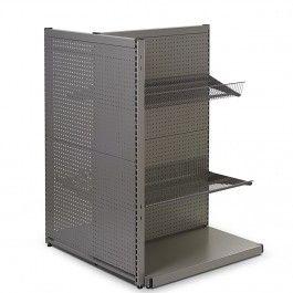 Gulvreol i værkstedsplade - grå med firkant huller inkl. trådhylder og varekrogemål H135xB90 cm