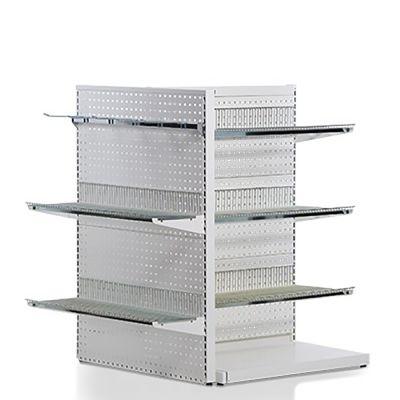 Gulvreol i hvid med hulplade med gavlramme, trådhylder og varekrogemål H135xB90 cm