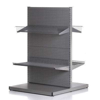 Butiksgondol med hullet bagplade - runde huller - mørk grå pulverlakeret metallic lakmål højde 140 cm - modulbredde 90 cm