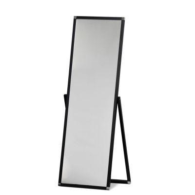 Gulvspejl sort stel - spejlet kan stilles i den vinkel du ønskerindvendigt mål H150xB50 cm - udvendigt mål H180xB55 cm