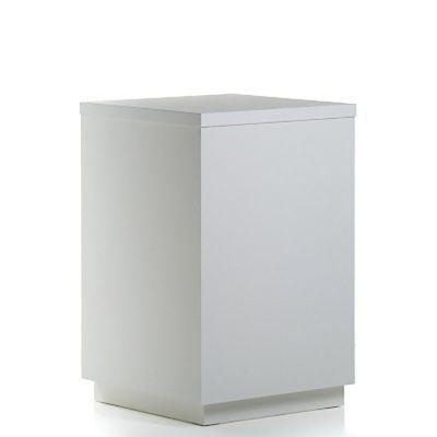Butiksdisk til vinkelløsning i hvid inkl. hvid topplade monteret