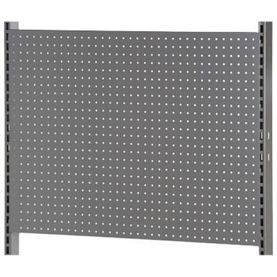 Bagplade med runde huller - passer til L-søjle 202 cm - grå metallic lakmål H66xB90 cm - 3 plader pr modul