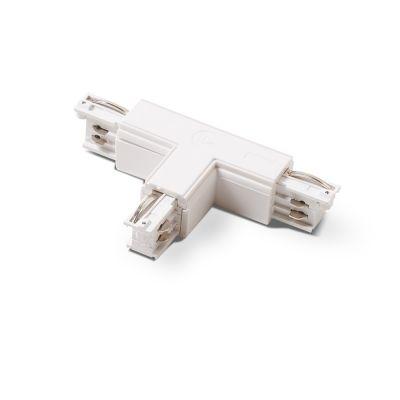 T-stykke - venstre pol - indvendig hvid til sammenkobling af 3 skinner