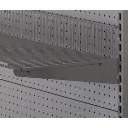 Hyldeknægte i grå pulverlakeret metallic lak for trådhyldemål L 40 cm - deling 32 mm