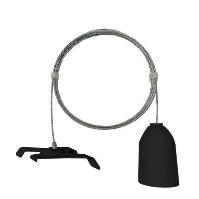 Wire inklusiv ophæng til loft - sorttil montering af strømskinner - wire er 1,5 m lang