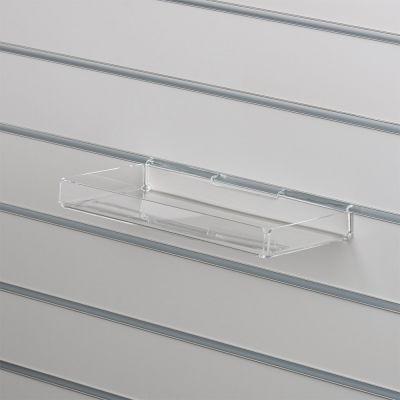 Bakke i klar akryl for rillepaneler - opbukket på alle 4 sidermål B30xD15 - opbukkede kanter måler 3 cm