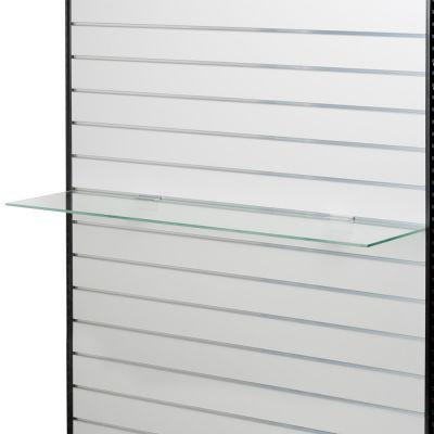 Glashylde til rillepanel - 3 stk. hyldebærer pr. hylde anbefalesmål L120xD26,5 cm - glastykkelse 8 mm