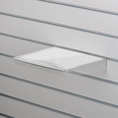Akrylhylde i klar akryl for rillepaneler - lige med nedbukkede sider og forkantmål B30xD30 cm