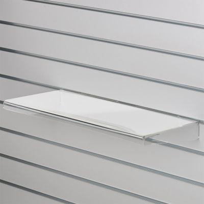 Akrylhylde i klar akryl for rillepaneler - lige hylde med nedbukket forkant og sidermål B59,5xD20 cm