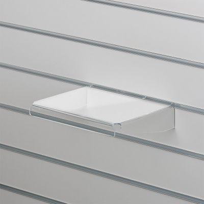 Akrylhylde i klar akryl for rillepaneler - lige med nedbukkede sider og forkantmål B25xD20 cm