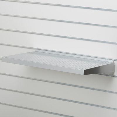 Grå alu lak hylde i metalplade - passer for rillepladermål B60 x D35 cm