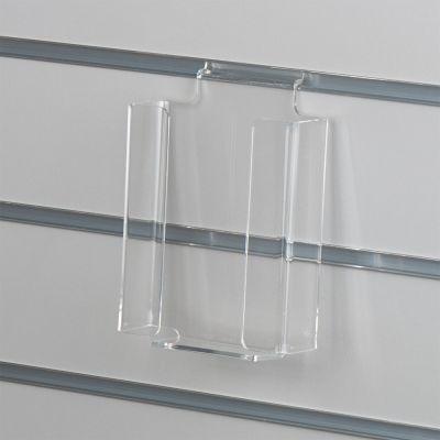 Brochureholder i opbukket klar akryl for rilleplader - blanke kanter - M65 lodret