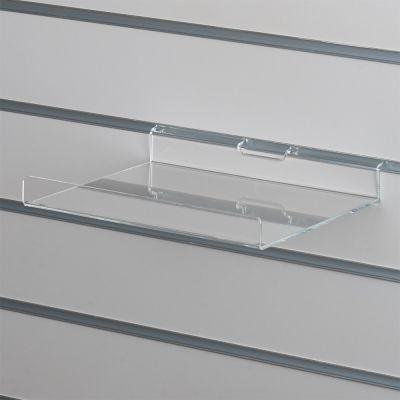 Akrylhylde i klar akryl for rillepaneler - lige hylde med opbukket forkantmål B25xD20 cm - forkant måler 2,8 cm
