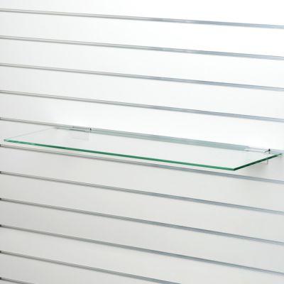Glashylde i klart glas til rillepanel - findes i 3 forskellige overfladermål L90xD21 cm - tykkelse 8 mm