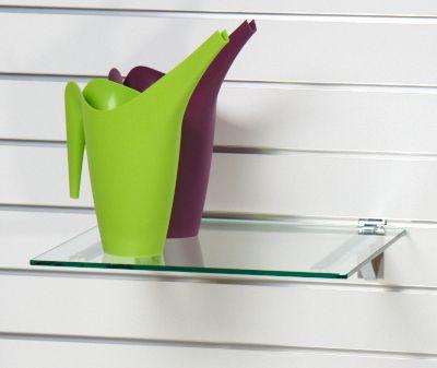 Glashylde i klart glas til rillepanel - findes i 3 forskellige farvermål L40xD35 cm - tykkelse 8 mm