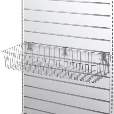 Trådkurv for panelplade - overflade i chrommål H15xB90xD30 cm