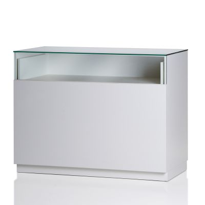 Butiksdisk i hvid inkl. topplade i glas - udtræksplade i hele bredden - inkl. 2 hyldermål længde 120 cm - diskdybde 60 cm