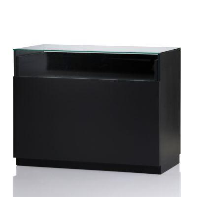 Butiksdisk i sort inkl. glas topplade - udtræksplade i hele bredden - 2 hyldermål L120xD60x92,5 cm