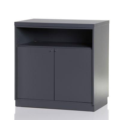 Butiksdisk i grå inkl. topplade i grå slidstærk laminat - inkl. 2 låger monteret og 2 hyldermål L90xD60xH92,5 cm