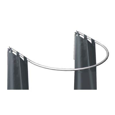 Prøverum med 2 forhæng - chrom bøjle med vægbeslag - inkl. 2 grå forhængmål H200xB100 cm