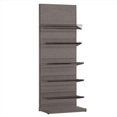 Butiksreol i værkstedsplade - grå inkl. trådhylder og hyldermål H240xB90 cm
