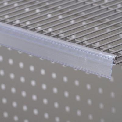 Hyldeforkant til trådhylde i transparent plast - klikkes påmål 26x885 mm