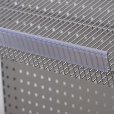 Hyldeforkant til trådhylde i transparent plast - klikkes påmål 39x885 mm